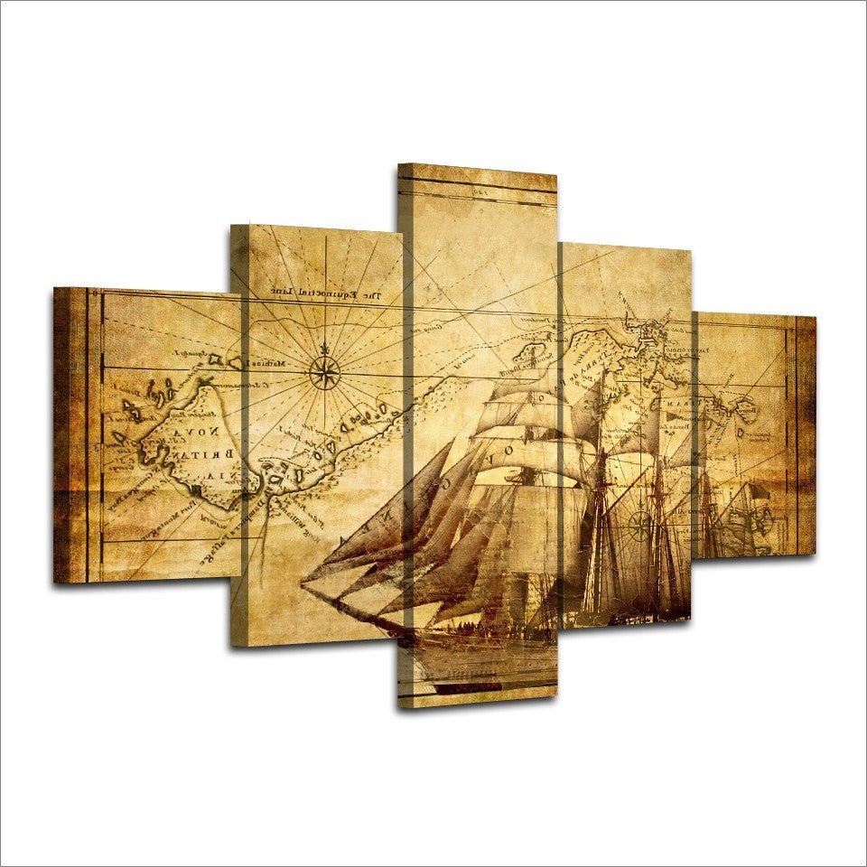 Vintage Navigation 5 Piece Canvas Wall Art - Vigor and Whim