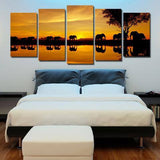 Elephant Walk 5 Piece Wall Canvas Art