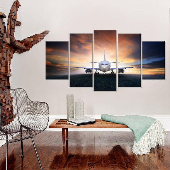 Plane In The Sunset 5 Piece Canvas Wall Art