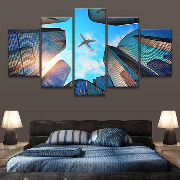 Airplane Skyline 5 Piece Wall Canvas Art
