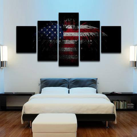 Patriotic Eagle Wall 5 Piece Canvas Art