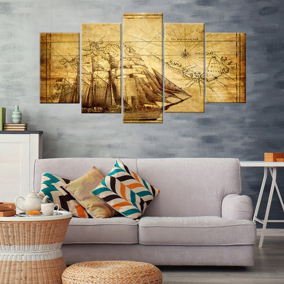 Vintage Navigation 5 Piece Canvas Wall Art