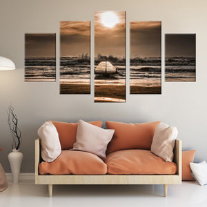Vintage Beach Dock 5 Piece Canvas Wall Art