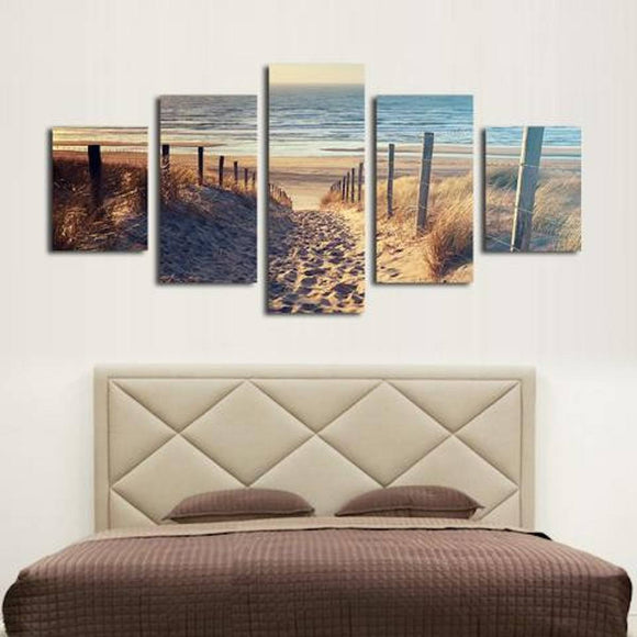 Beach Walkway 5 Piece Wall Canvas Art