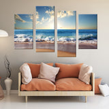 Crashing Waves 4 Piece Staggered Canvas Wall Art