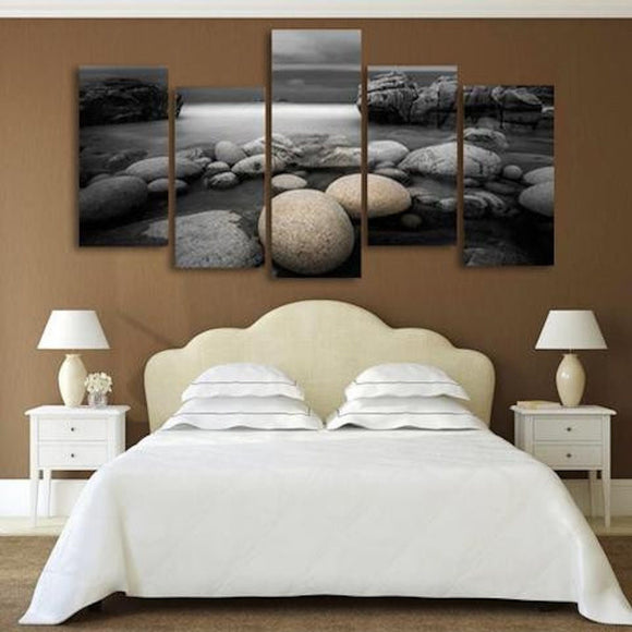 Black Stone 5 Piece Staggered Wall Canvas Art