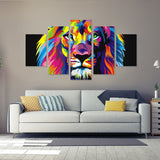 Artistic Lion's Head 5 Piece Canvas Wall Art