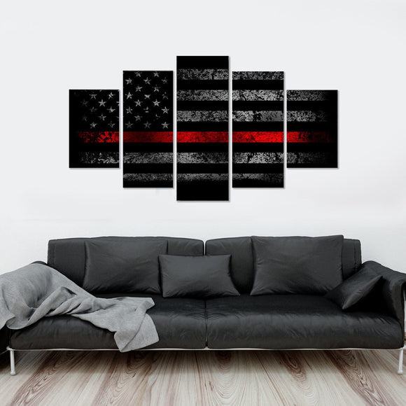 Red Line BW Vintage Flag 5 Piece Canvas Wall Art
