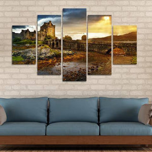 Sunset Castle 5 Piece Wall Canvas Art