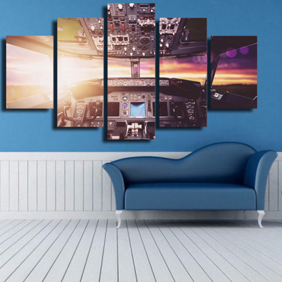 Cockpit Cabin 5 Piece Canvas Wall Art