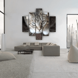 Curious Cat 5 Piece Canvas Wall Art