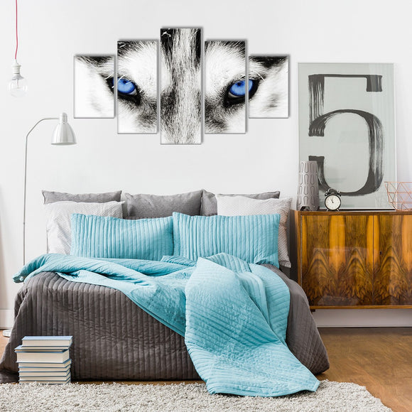 Blue Wolf Eyes 5 Piece Canvas Wall Art