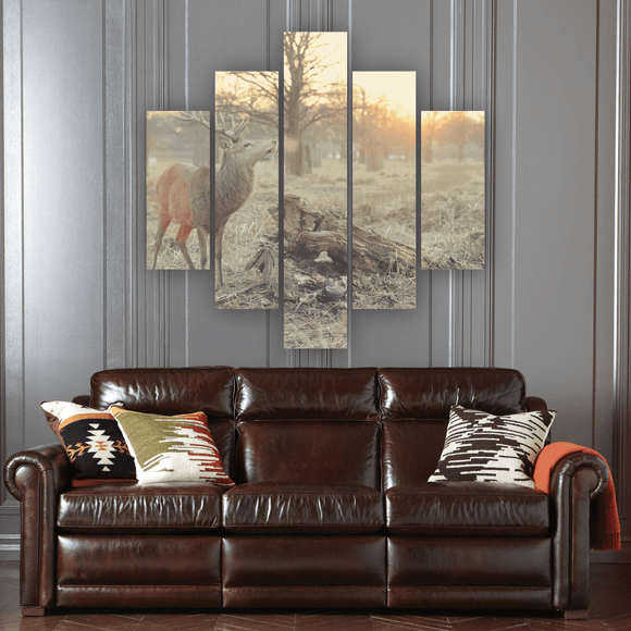 Sunset Deer 5 Piece Canvas Wall Art