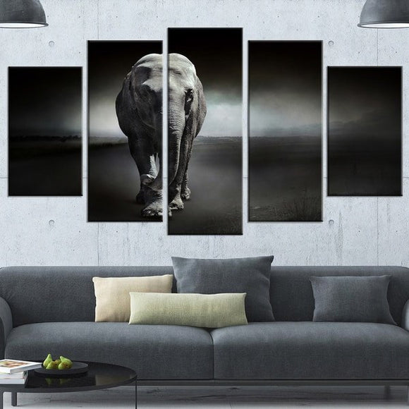 Beautified Elephant 5 Piece Canvas Wall Art