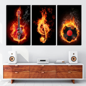 Fiery Treble Clef Music 3 Piece Canvas Wall Art