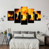 Firefighter 5 Piece Wall Canvas Art