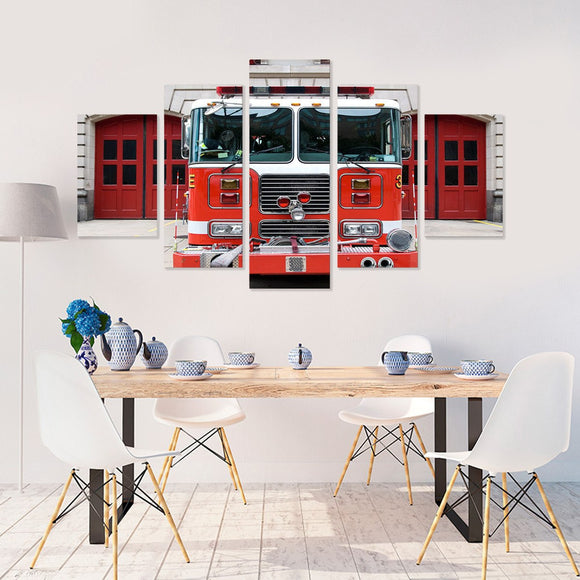 Firetruck Engine 5 Piece Canvas Wall Art
