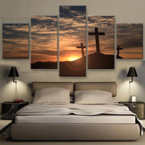 Hill Cross 5 Piece Wall Canvas Art