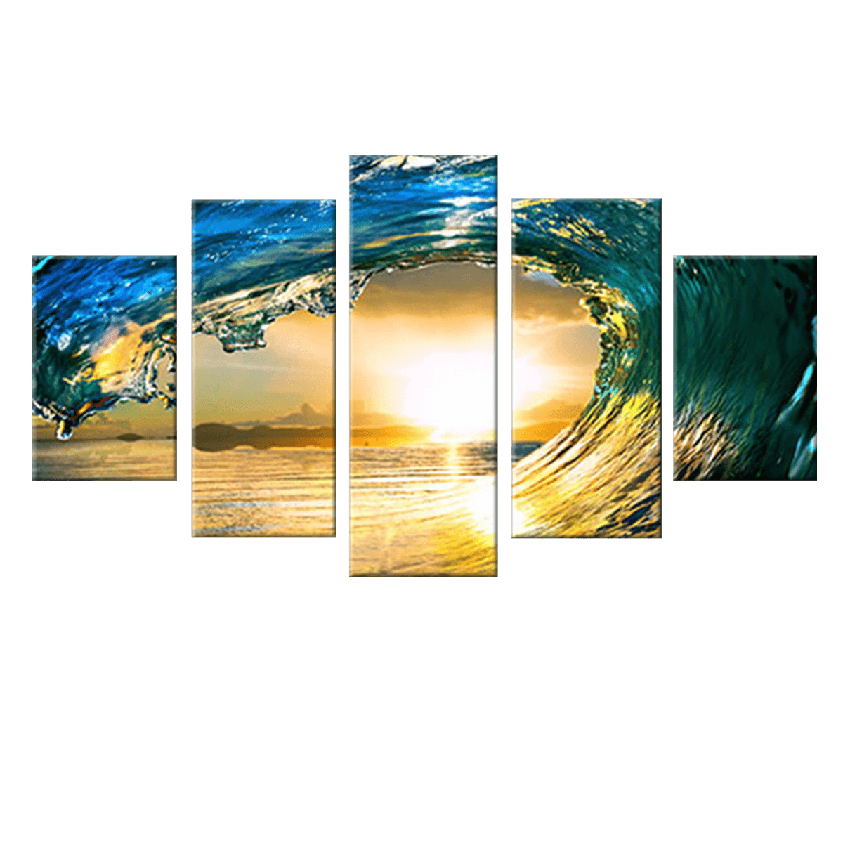 Wave Crash 5 Piece Canvas Wall Art - Vigor and Whim