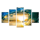 Wave Crash 5 Piece Canvas Wall Art