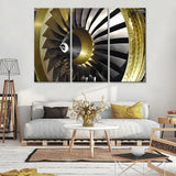 Gold Engine 3 Piece Wall Canvas Art