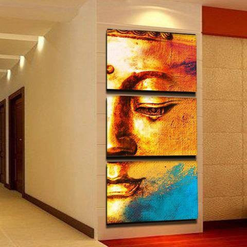 Golden Blue Buddha 3 Piece Wall Canvas Art