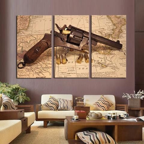 Revolver Map 3 Piece Wall Canvas Art