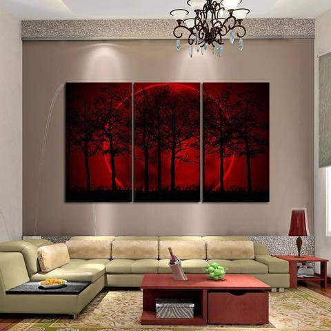 Red Forest 3 Piece Wall Canvas Art