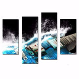 Electronic Guitar 4 Piece Wall Canvas Art