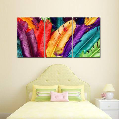 Feathers 3 Piece Wall Canvas Art