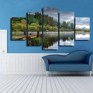 Forest Fishing Dock 5 Piece Wall Canvas Art