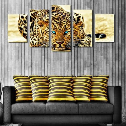 Jaguar 5 Piece Wall Canvas Art