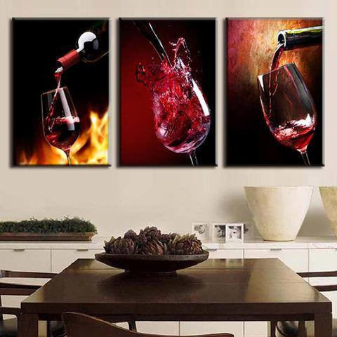 Pouring Wine 3 Piece Wall Canvas Art