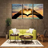 Heart 3 Piece Wall Canvas Art