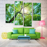 Sun Through the Tree 4 Piece Staggered Wall Canvas Art