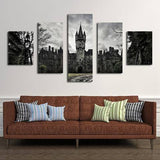 Black Castle 5 Piece Wall Canvas Art