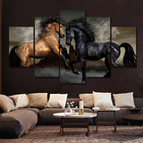 Horse Fight 5 Piece Wall Canvas Art