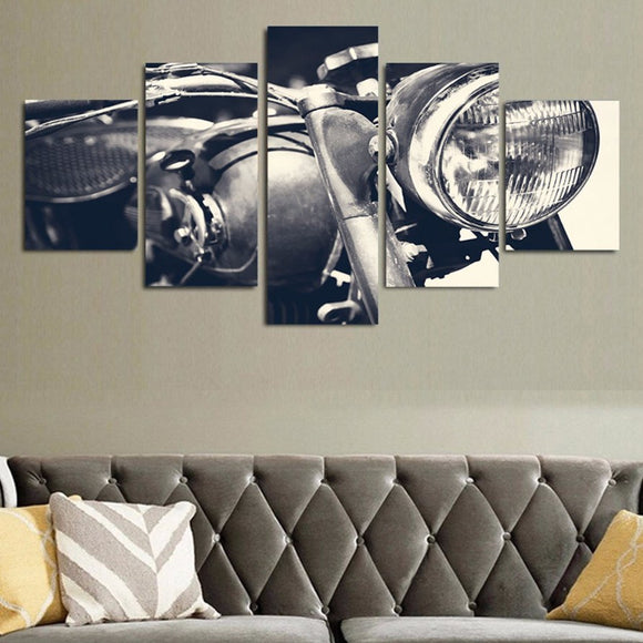 Vintage Motorcycle 5 Piece Canvas
