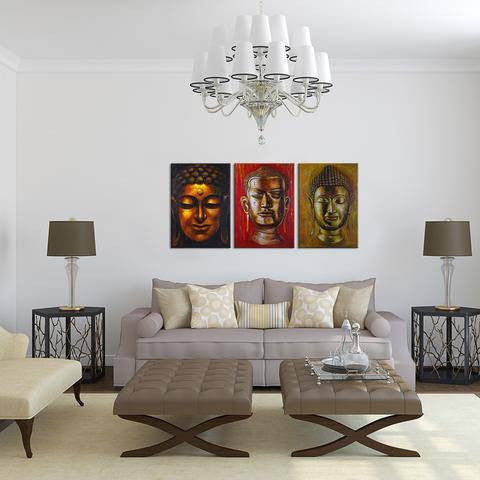 Triple Buddha 3 Piece Wall Canvas Art