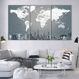 Grayscale World Map 3 Piece Wall Canvas Art