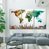 Colorful Map 3 Piece Wall Canvas Art