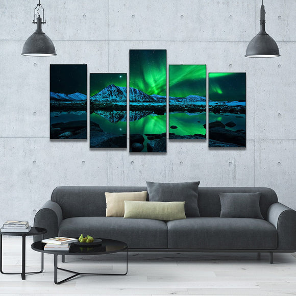 Futuristic Aurora 5 Piece Staggered Canvas Wall Art