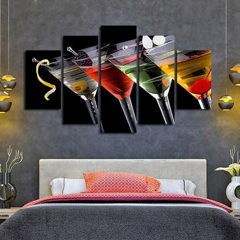 Fancy Drinks 5 Piece Wall Canvas Art