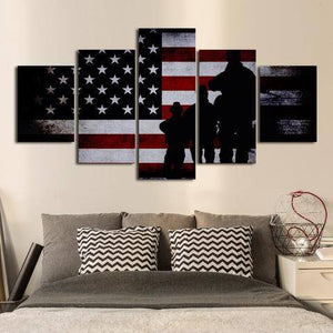 Military Flag 5 Piece Wall Canvas Art