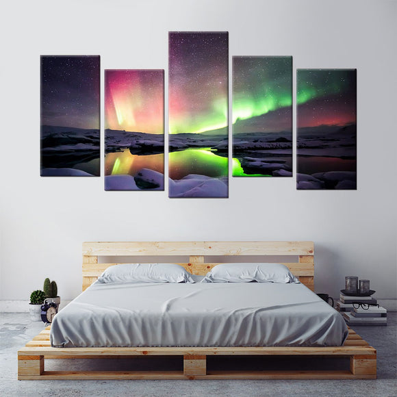 Fuse Northern Auroras 5 Piece Staggered Canvas Wall Art