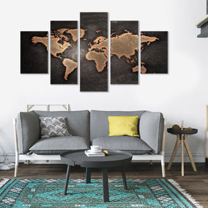 World Map Golden 5 Piece Canvas Wall Art