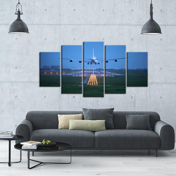 Aircraft Approach And Landing 5 Piece Canvas Wall Art