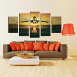 Pilot Taking Off On Runway 5 Piece Canvas Wall Art