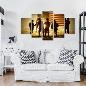 Patriotic Military 5 Piece Canvas Wall Art