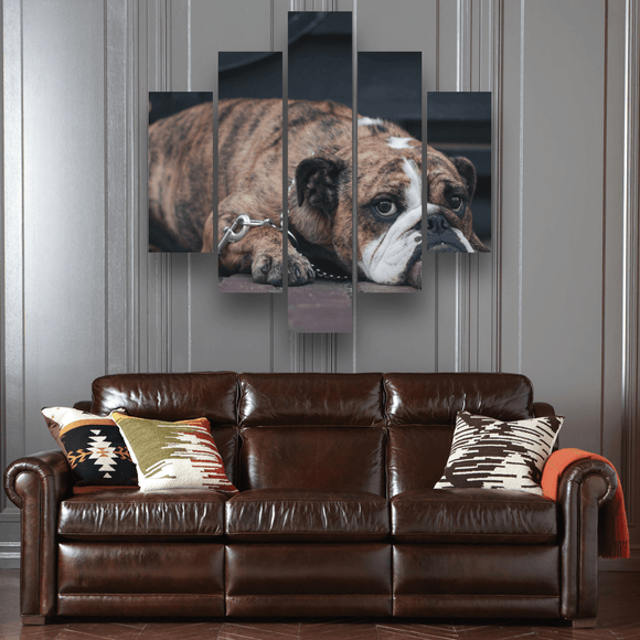 Tired Bulldog 5 Piece Canvas Wall Art